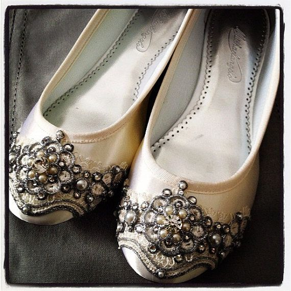 Spun Sugar Ballet Flats Wedding Shoes - Any Size - Pick your own shoe color and crystal color. $155.00, via Etsy.