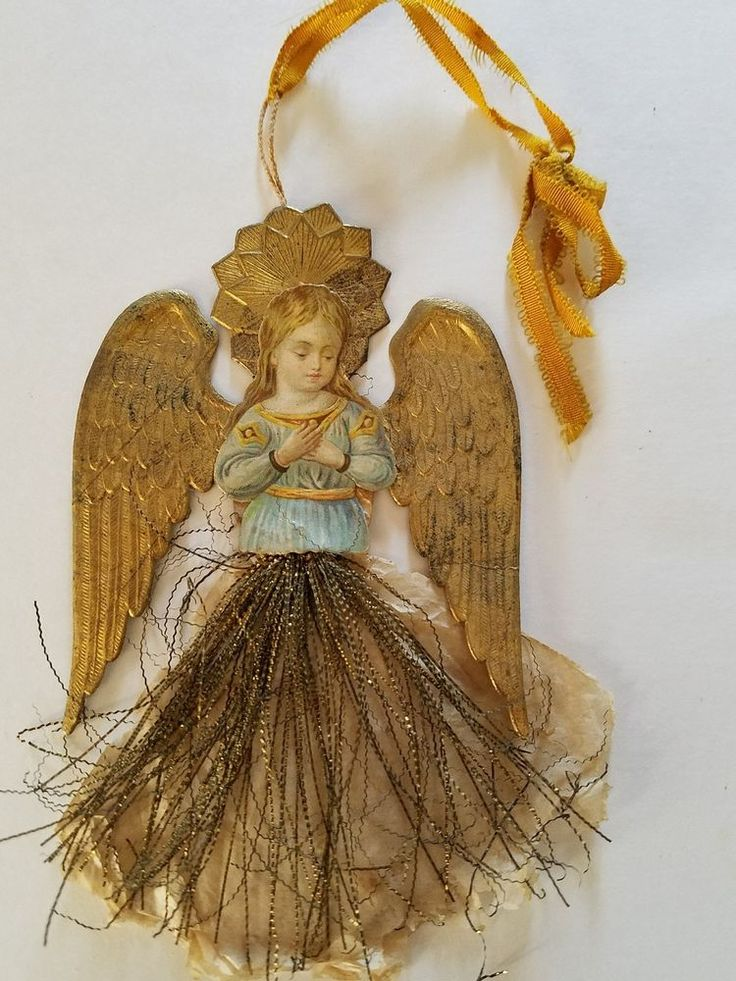 ANTIQUE CHRISTMAS DRESDEN ANGEL ORNAMENT, FLAT, TINSEL, SCRAP, FEATHER TREE TOP