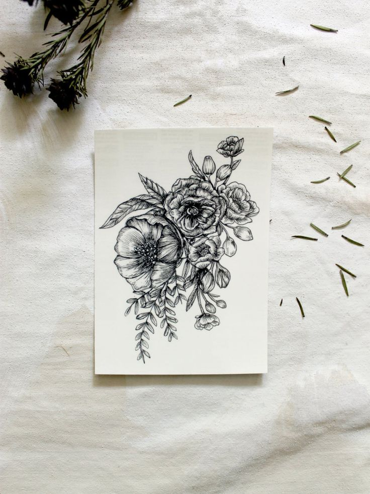 Large Floral Temporary Tattoo Botanical Bunches by emiliebelle