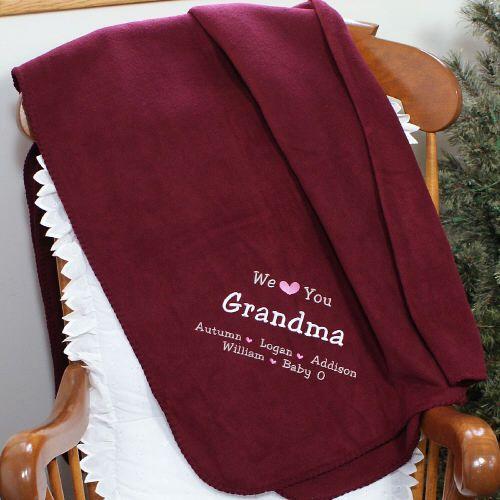 Grandparentsday Embroidered We Love You Grandma Throw
