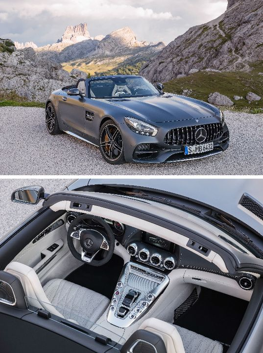 The new Mercedes-AMG GT C is quickly transformed from a coupé to a open-top sports car. [Combined fuel consumption 11.4 l/100 km | combined CO2 emission 259 g/km | http://mb4.me/efficiency_statement]