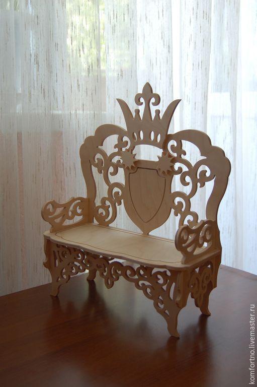 Купить Кукольный диванчик-трон - кукольная мебель, кукольный стульчик, стульчик для куклы, Мебель