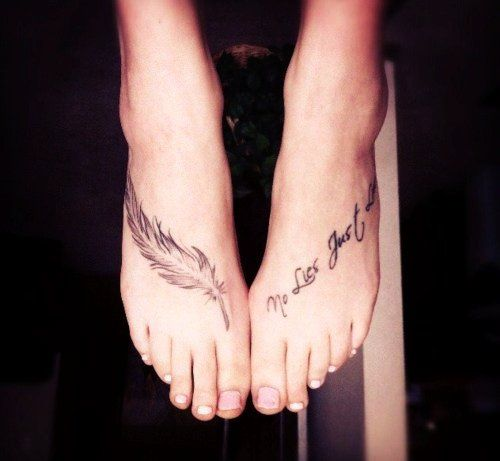 Charming Foot Quote Tattoos for Girls - Feather Cute Foot Quote Tattoos for Girls
