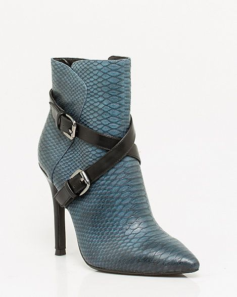 Snake Print Pointy Toe Ankle Boot