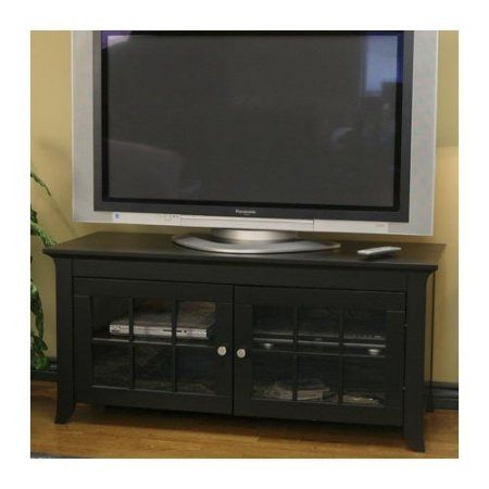 Techcraft 48 inch Wood TV Stand, Black, for TVs up to 55 inch