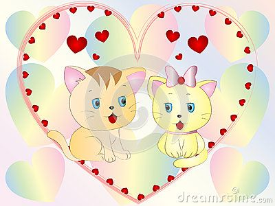Cute Kittens Vector Illustration wallpaper Background.