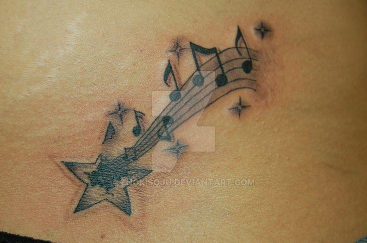 Custom Exploding Star Musical Notes Tattoo by enokisoju