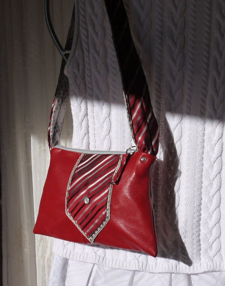 Red Leather Satchel Red Leather Zip Purse Zip Purse with Upcycled Tie Trim Bag Again by BagAgain on Etsy https://www.etsy.com/listing/216139604/red-leather-satchel-red-leather-zip