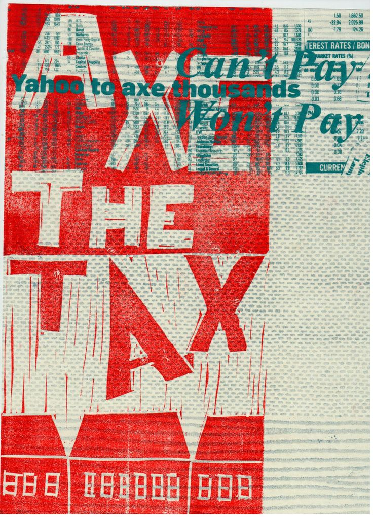 Axe The Tax refers to the Coalition Goverments Bedroom Tax and was designed for the Book of Cuts, which incorporates creative responses to the goverments austerity measurements and general right wing agenda.  Everyone is encouraged to participate in the Book of Cuts.