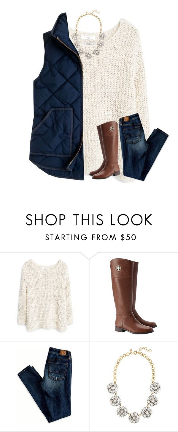 """{I drank a cup of coffee a few hours ago and now I'm super hyper}"" by southerngirl03 ❤ liked on Polyvore featuring MANGO, Tory Burch, American Eagle Outfitters and J.Crew"