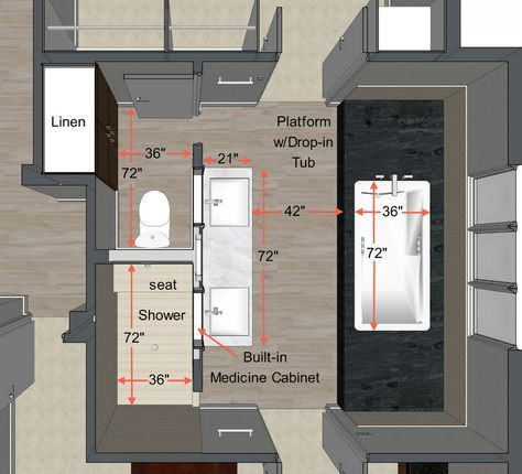 Possible master bath layout - doors going to closet & laundry. Tub could be offset with bedroom door coming in from foot of tub