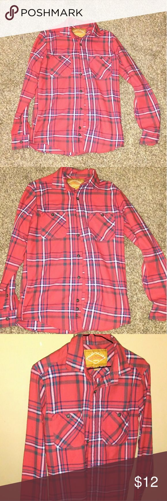 Mens Red Camel Button Up 100 % Cotton. Very Soft (feels like a lightweight flannel) Size Small New With Tags! Red Camel Shirts