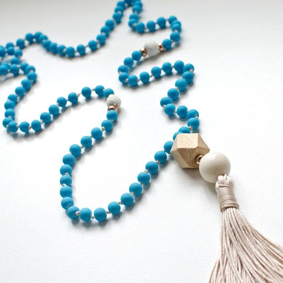 Boho Hippie Rosary Necklace   Glass & Lava Beads   Rubber Coated   Beige Handmade Tassel   Wood Bead