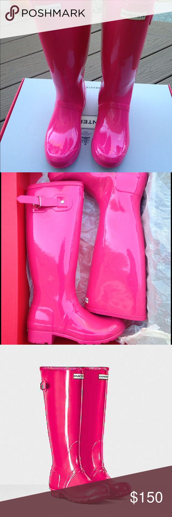 NIB, size 7 Bright Cerise (Pink) Hunter boots Price Firm---Not interested in any trades.  Selling to finance Huntress boots. These are NIB and go perfectly with a Lilly Pulitzer wardrobe. Hunter Boots Shoes Winter & Rain Boots