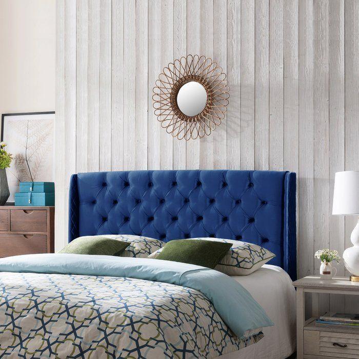 Riley Upholstered Wingback Headboard Blue Velvet Headboard Blue
