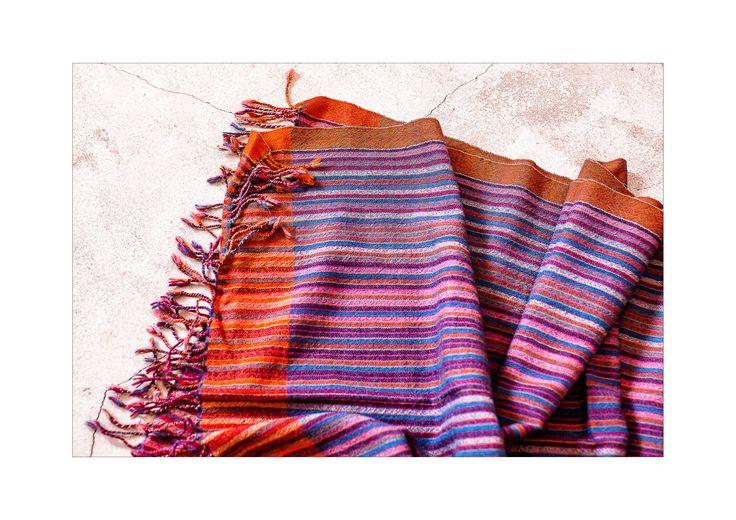 stripy silk wool scarf  natural dyes