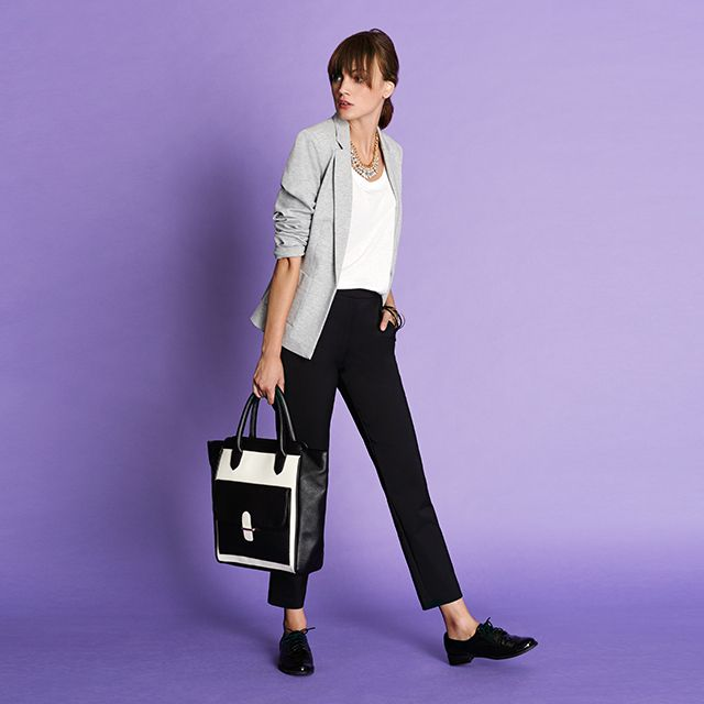 Effortless Style: Ponte Jacket, Essentials Rib T-Shirt, Slim Fit Pants, Melrose Tote and Silk Patent.