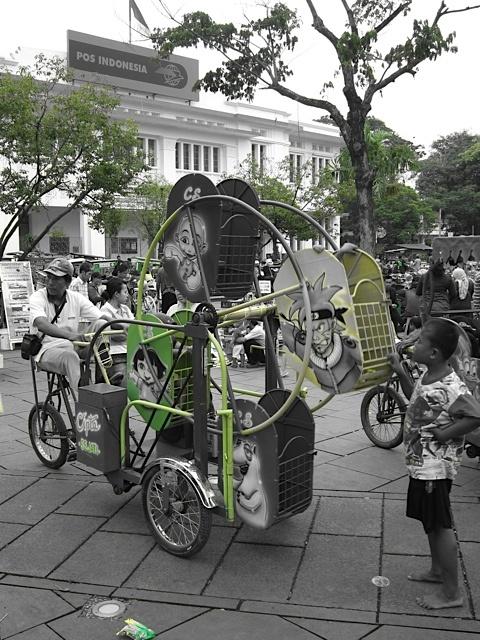 a manual ferris wheel.  Jakarta, Indonesia