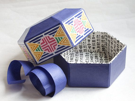 Blue Hex Jewellery Box Korean Hanji paper  paper by papertreeshop