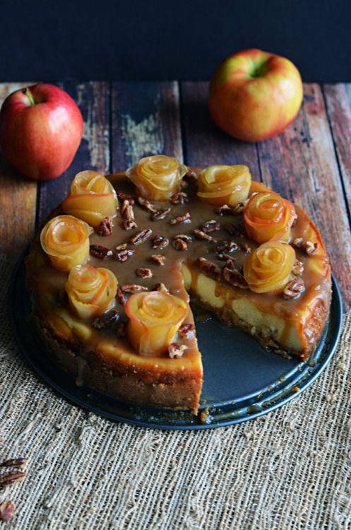 foodiebliss:  Salted Caramel Apple Cheesecake with Apple Roses | Host The Toast