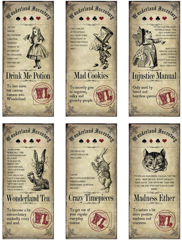 Alice in Wonderland 6 large bottle label stickers apothecary labels #HandCrafted #Halloween