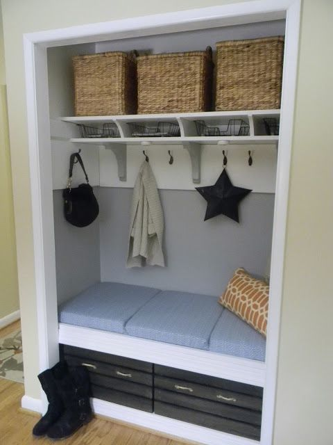 Idea for inside of front entryway closet, this is great for a small narrow entry