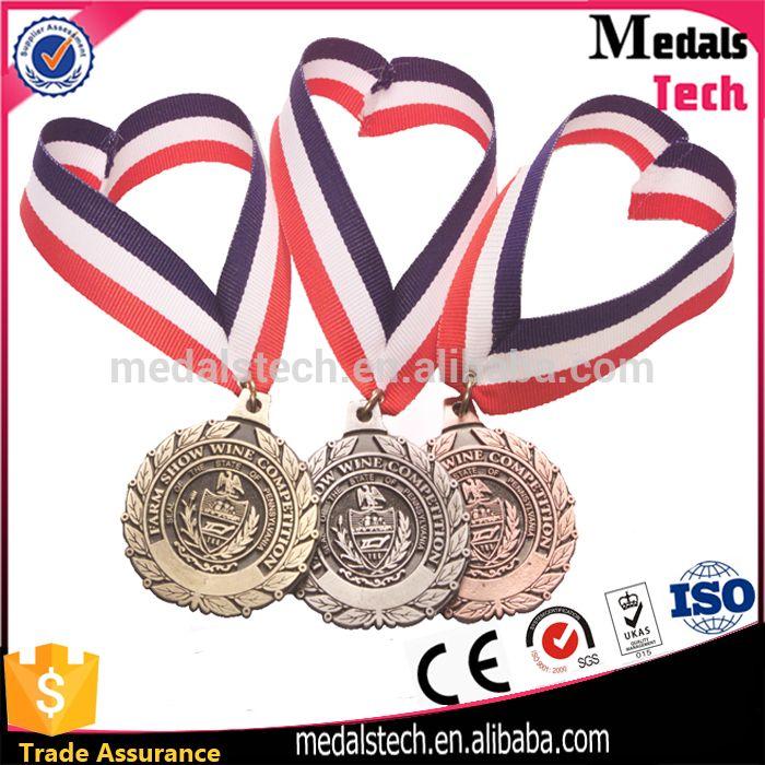 Wholesale custom made antique silver gold bronze plated metal award medal gymnastics academy medal