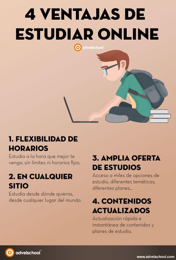 Hola: Una infografía con 4 ventajas de estudiar online. Vía Un saludo