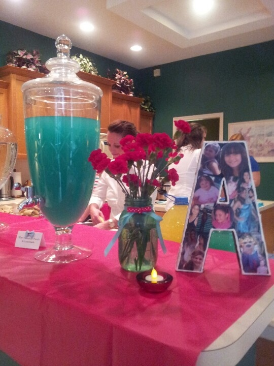 Tiffany Blue/ Teal Punch. Easy to make: 1 Blue Hawaiian Punch 1/2 Hawaiian Punch Lemonade. Was perect for the theme of the party. #angeleessweet16