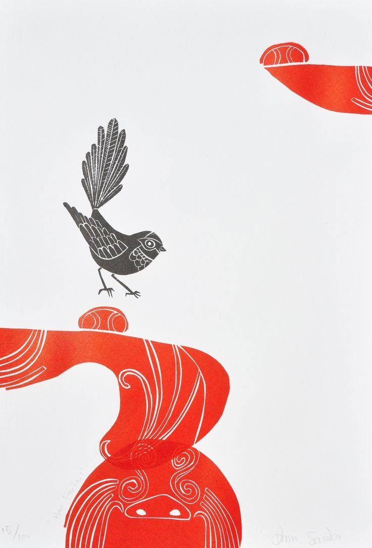 Parnell Gallery artist Annie Smits Sandano Hari Fantail http://www.parnellgallery.co.nz/artworks/artist-annie-smits-sandano/hari-fantail/