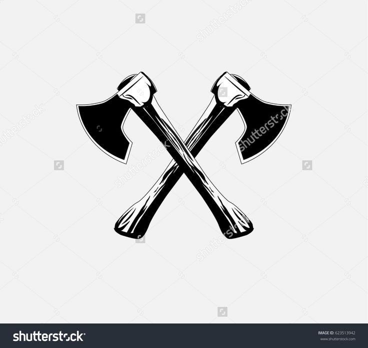 Lumberjack axes crossed , axe icon Vector illustration  #Lumberjack #axes #crossed  #axe #cut #chop