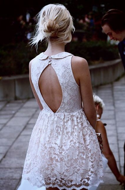 {summer style inspiration : a little white dress & a chignon} by {this is glamorous}, via Flickr: Open Back Dresses, Wedding Dresses, Summer Style, Peter Pan Collars, White Lace Dresses, Messy Buns, Little White Dresses, Cut Outs, Back Details