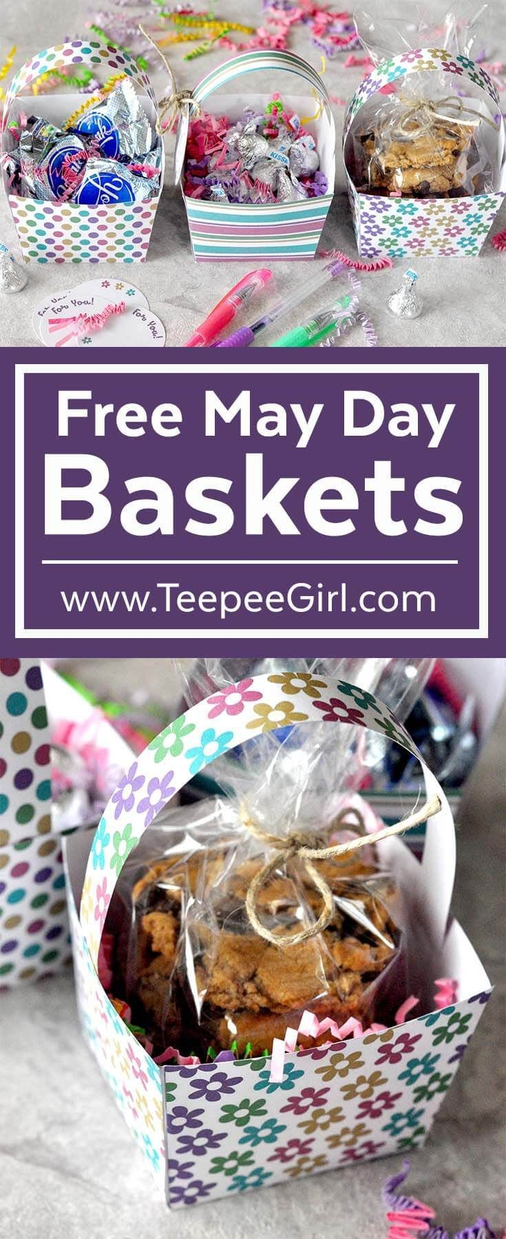 These free May Day basket printables are easy to assemble and perfect for showing love & friendship! Plus, there's a free gift tag! www.TeepeeGirl.com