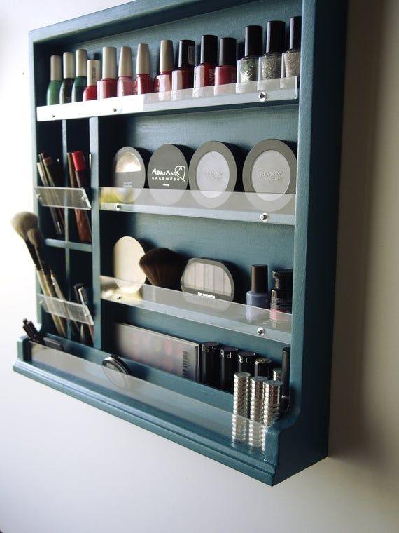 Make Up Organizer Nail Polish Storage Make Up Box Turquoise Makeup Storage Nail Polish Display Wall Mounted Wooden Display Maquillage Makeup Room Decor Nail Polish Storage Nail Polish Storage Diy