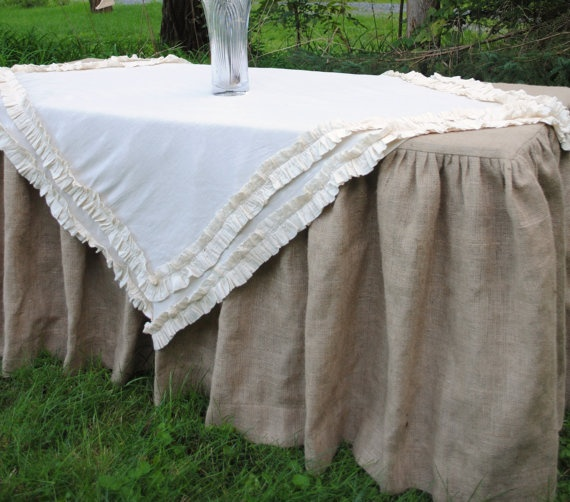 Burlap Table Cover With Ruffled Cotton Scrim.