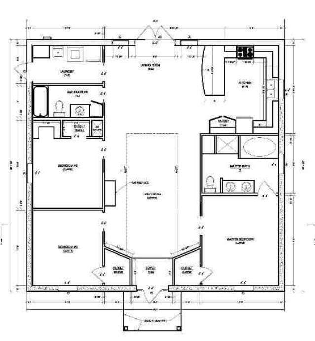 Simple, practical and interesting 3 bedroom 2 bath floor plan.