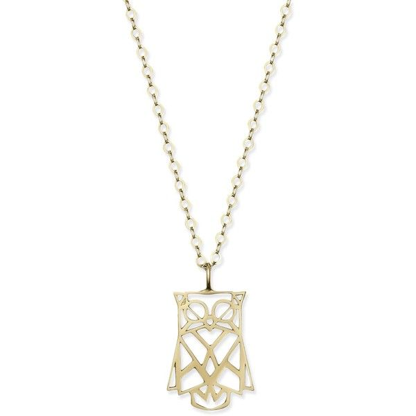 Origami-Look Owl Pendant Necklace in 14k Gold ($199) ❤ liked on Polyvore featuring jewelry, necklaces, yellow gold, gold pendant necklace, origami owl necklace, owl jewelry, 14 karat gold necklace and 14k gold necklace