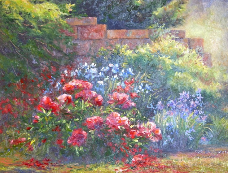 Oil Painting Peonies along the Garden Wall  by Joni Finnegan 11x 14  $595.