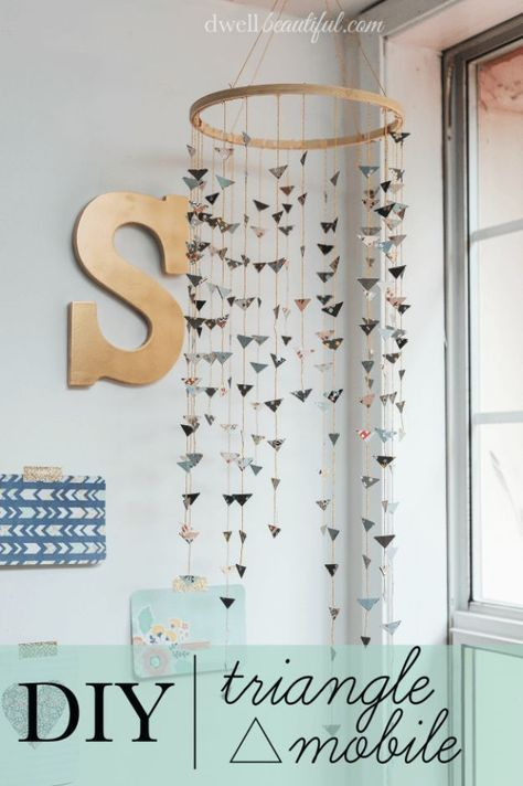 Anthropologie DIY Hacks, Clothes, Sewing Projects and Jewelry Fashion - Pillows, Bedding and Curtains - Tables and furniture - Mugs and Kitchen Decorations - DIY Room Decor and Cool Ideas for the Home   DIY Triangle Mobile   http://diyprojectsforteens.com/diy-anthropologie-hacks