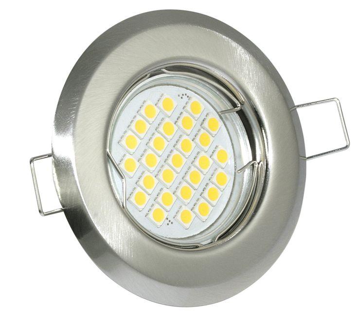 Einbaustrahler nicht schwenkbar Farbe Edelstahl gebürstet GU10 LED 5W 430lm 230V 3000K warmweiß