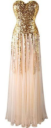 Angel-fashions Women's New Gold Sequin Sweetheart Mesh Lace up Floor Length Dress