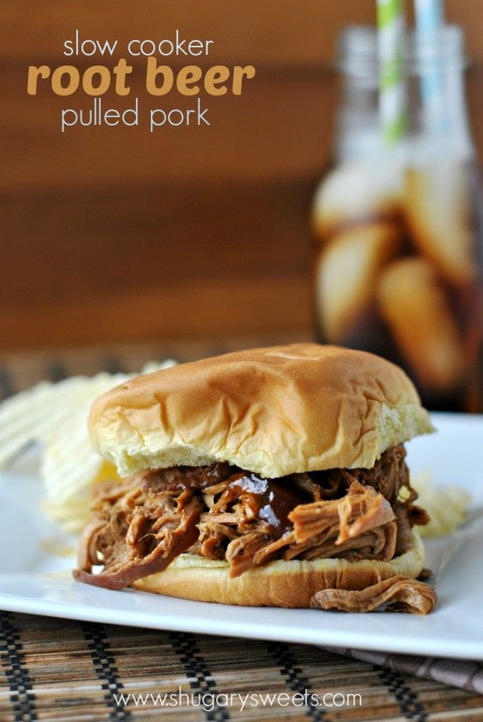 Root Beer Pulled Pork ~  Ingredients: *2 lb pork tenderloins *12oz Root Beer *1 cup BBQ sauce (any variety) *1 tsp kosher salt *1/4 tsp ground black pepper. Instructions: In a slow cooker, whisk together the root beer, BBQ sauce, salt & pepper. Add pork tenderloins. Heat on low for about 8 hours. Shred pork with two forks. Serve on a bun with additional BBQ sauce, if desired.