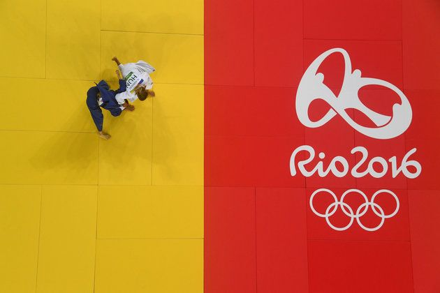 Hedvig Karakas of Hungary (in white) competes against Chen-Ling Lien of Chinese Taipei in the Women's 57 kg Repechage Judo contest on Day 3 of the Rio 2016 Olympic Games at Carioca Arena 2 on Aug. 8, 2016. | Best Photos From The Rio Olympics