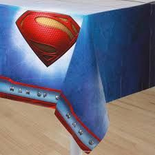 """Superman Tablecover (includes one 54"""" x 96"""" rectangular plastic tablecover in a pack)"""