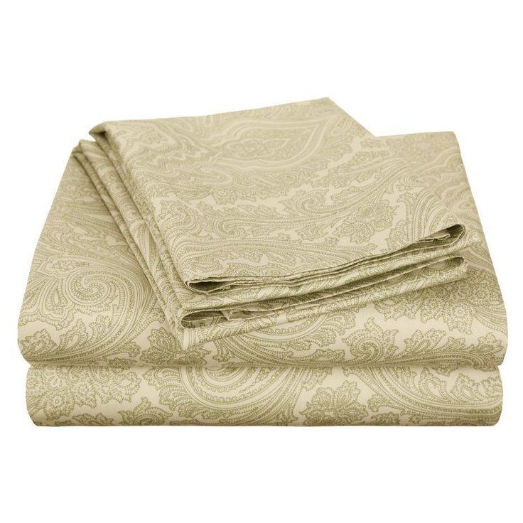 Superior Cotton Rich 600TC Italian Paisley Sheet Set Sage - CR600XLSH IPSG