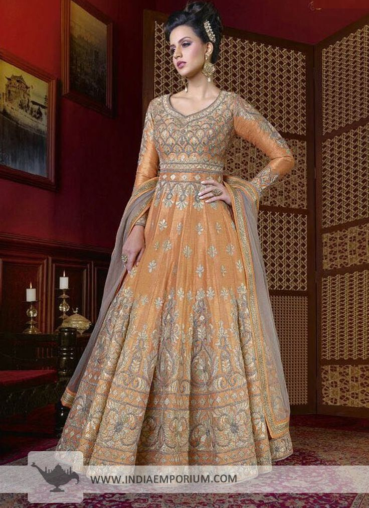 Vivacious Silk Light Orange Embroidered Bridal Anarkali Suit