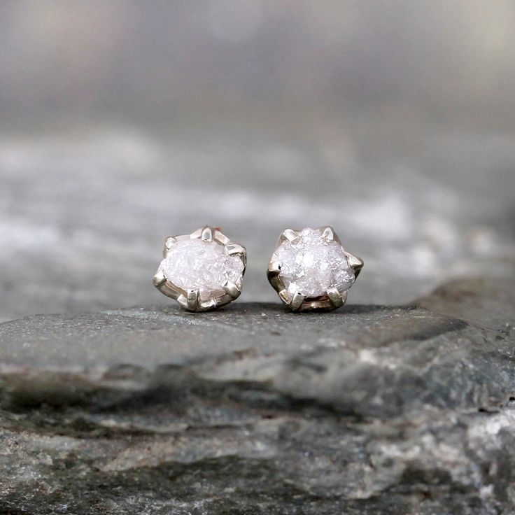 1 Carat Raw Diamond Earrings - Sterling Silver Filigree Inspired - Stud Earring - April Birthstone - Uncut Gemstone - Conflict Free Diamonds by ASecondTime on Etsy https://www.etsy.com/listing/200777431/1-carat-raw-diamond-earrings-sterling