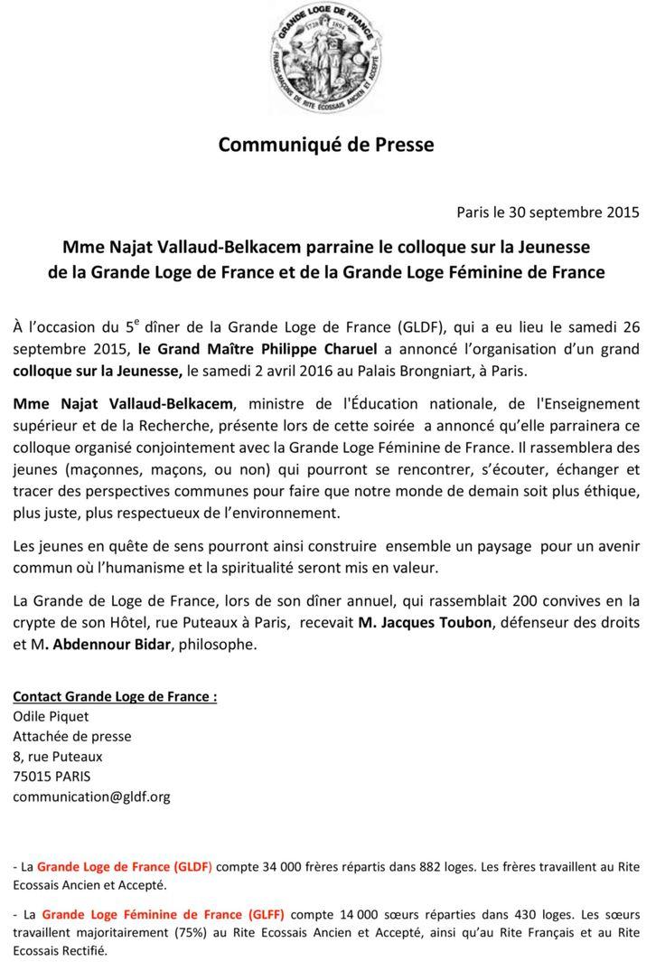 Mme Najat Vallaud Belkacem parraine le colloque sur le jeunesse de la GLDF et de de la GLFF   GADLU.INFO - Actualités Franc-Maçonnerie Web Maçonnique