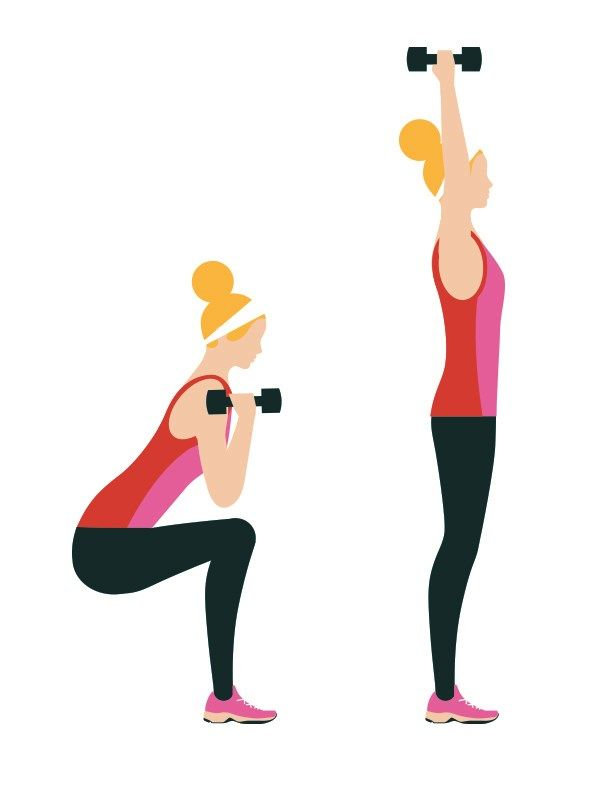 Squat and push presses: 3 sets of 20  Intermediate workout routine - Perform a squat while holding dumbells; as you stand up, lift your arms over your head. Click to read the full workout on You & Your Wedding's website.
