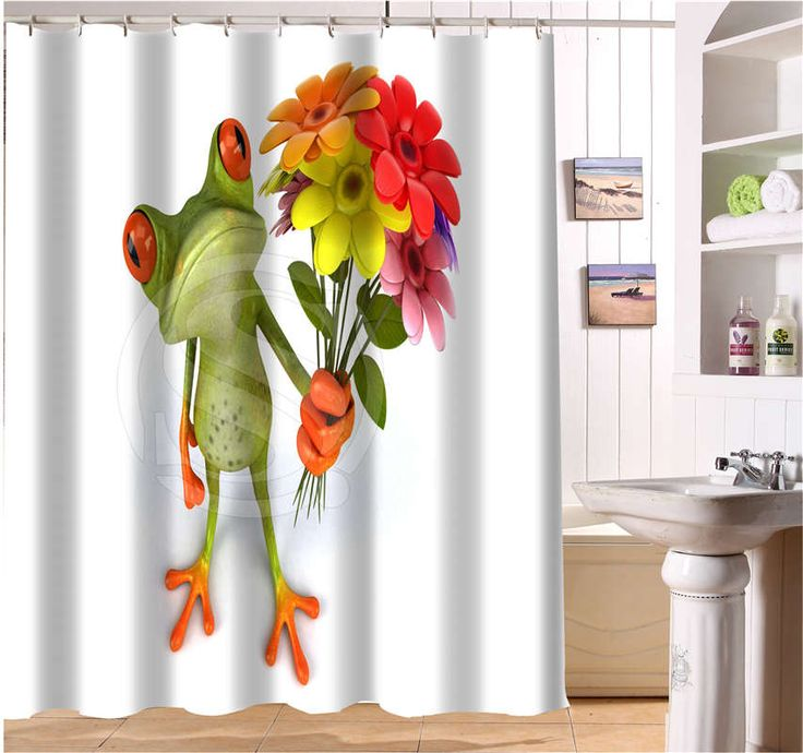 WJY504K8 Custom Frog With Flower Funny Picture Fabric Modern Shower Curtain bathroom Waterproof  FY8  $27.03